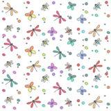Fondo a senza cuciture molti insetti colorati illustrazione di stock