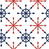 Fondo senza cuciture nautico del modello con le ruote rosse e blu Tema del mare Illustrazione di vettore Immagini Stock Libere da Diritti