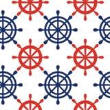 Fondo senza cuciture nautico del modello con le ruote Tema del mare Fotografia Stock Libera da Diritti