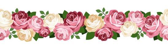 Fondo senza cuciture orizzontale con le rose. Fotografia Stock