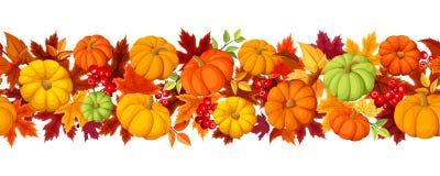 Fondo senza cuciture orizzontale con le zucche variopinte e le foglie di autunno Illustrazione di vettore Fotografie Stock Libere da Diritti