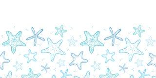 Fondo senza cuciture orizzontale del modello di arte di linea blu delle stelle marine Fotografia Stock Libera da Diritti