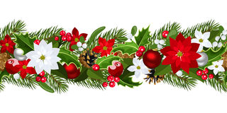 Fondo senza cuciture orizzontale di Natale. Fotografia Stock Libera da Diritti