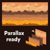 Fondo senza cuciture Paesaggio del deserto per progettazione del gioco Parallasse pronto Fotografie Stock Libere da Diritti