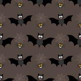Fondo senza cuciture per Halloween con i pipistrelli ed il web Illustrazione di vettore nella progettazione piana moderna Fotografia Stock Libera da Diritti