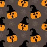 Fondo senza cuciture per Halloween con le zucche in cappello e nel web Illustrazione di vettore nella progettazione piana moderna Fotografie Stock Libere da Diritti