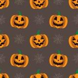 Fondo senza cuciture per Halloween con le zucche ed il web Illustrazione di vettore nella progettazione piana moderna Fotografie Stock Libere da Diritti