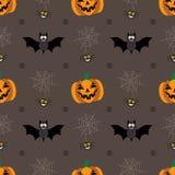 Fondo senza cuciture per Halloween con le zucche, il pipistrello ed il web Illustrazione di vettore nella progettazione piana mod Immagine Stock Libera da Diritti