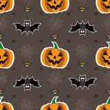 Fondo senza cuciture per Halloween con le zucche, web, pipistrello Illustrazione di vettore nella progettazione piana moderna Fotografie Stock