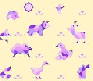 Fondo senza cuciture puerile del modello della scuola materna con gli animali da allevamento illustrazione di stock
