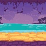 Fondo senza cuciture Spiaggia abbellita per progettazione del gioco Il parallasse è pronto Immagini Stock