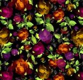 Fondo senza cuciture strutturato della pittura a olio floreale dell'acquerello di Brught Immagini Stock