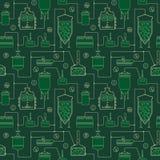 Fondo senza cuciture verde - birra che fa processo illustrazione vettoriale