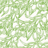 Fondo senza cuciture verde con le olive royalty illustrazione gratis