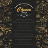 Fondo senza cuciture verticale con i prodotti del formaggio illustrazione di stock