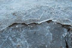 Fondo separado congelado separado de la edad de hielo de la divisoria del invierno del hielo que se agrieta frágil fotos de archivo