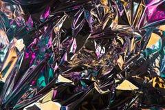 Fondo sgualcito astratto della stagnola Fondo della foto di lerciume Colori al neon colore del camaleonte immagini stock libere da diritti