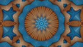 Fondo simmetrico astratto blu e marrone per la stampa sui clo Fotografia Stock