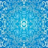 Fondo simmetrico blu dell'ornamento floreale Fotografia Stock Libera da Diritti