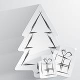 Fondo simple de la Navidad del vector con el árbol y los regalos de papel Fotos de archivo