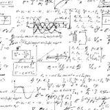 Fondo sin fin inconsútil del modelo con fórmulas matemáticas manuscritas Foto de archivo