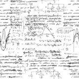 Fondo sin fin inconsútil del modelo con fórmulas matemáticas manuscritas Foto de archivo libre de regalías