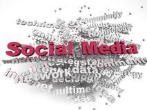 fondo social de la nube de la palabra del concepto del imagen 3d medios Fotos de archivo