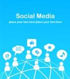 Fondo social de la red con los iconos de los media Fotografía de archivo