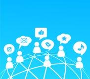 Fondo social de la red con los iconos de los media Foto de archivo
