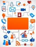 Fondo social de la red con los iconos de los media Imagenes de archivo