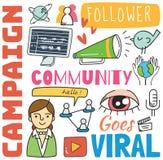 Fondo social de los medios en el ejemplo del vector del estilo del garabato ilustración del vector