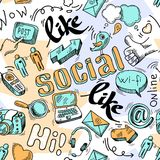 Fondo sociale del modello di media di scarabocchio senza cuciture Immagine Stock Libera da Diritti