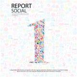 Fondo sociale di network number con le icone di media illustrazione di stock