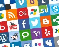 Fondo sociale variopinto delle icone di media [1] illustrazione di stock