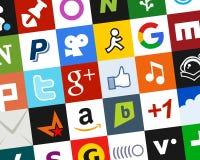 Fondo sociale variopinto delle icone di media [2] royalty illustrazione gratis