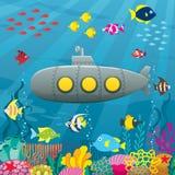 Fondo sottomarino del fumetto illustrazione vettoriale