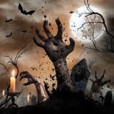 Fondo spaventoso di Halloween con le mani dello zombie immagine stock libera da diritti
