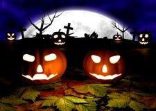 Fondo spettrale di Halloween con le zucche in a Immagine Stock