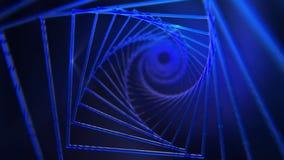 Fondo a spirale dei quadrati blu e dei raggi luminosi video d archivio