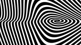 Fondo a spirale ipnotico in bianco e nero di illusione, video 4K illustrazione vettoriale
