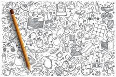 Fondo stabilito del negozio disegnato a mano del bambino Fotografie Stock