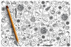 Fondo stabilito dell'alimento indiano disegnato a mano Fotografie Stock