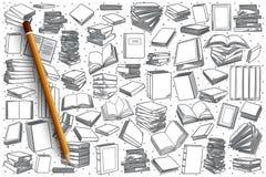 Fondo stabilito della libreria disegnata a mano Fotografie Stock Libere da Diritti