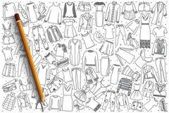 Fondo stabilito delle donne dell'abbigliamento disegnato a mano del ` s Fotografia Stock Libera da Diritti