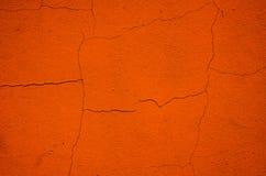 Fondo stagionato arancio della parete del gesso Fotografie Stock Libere da Diritti