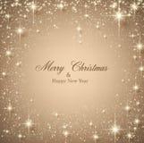 Fondo stellato beige di Natale. Immagine Stock