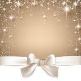 Fondo stellato beige di Natale. Fotografia Stock