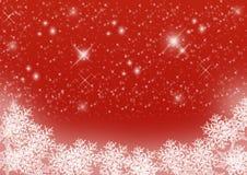 Fondo stellato rosso di Natale con i fiocchi di neve Fotografia Stock