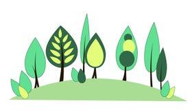 Fondo stilizzato con gli alberi su una collina Fotografia Stock Libera da Diritti