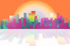 Fondo stilizzato di paesaggio astratto della città di colore Fotografia Stock